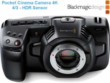 BlackMagic Pocket Cinema Camera 4K HDR mit Touchscreen und MFT-Mount {Body ohne Objektiv}
