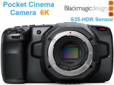 BlackMagic Pocket Cinema Camera 6K HDR mit Touchscreen und EF-Mount {Body ohne Objektiv}