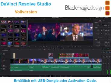 BlackMagic DaVinci Resolve STUDIO 16 - Vollversion mit USB-Dongle oder Activation-Code