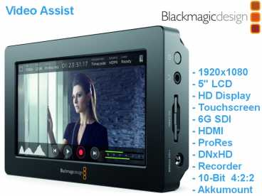 "5"" Blackmagic Video Assist 1920x1080 Touchscreen Monitor u. Rec"