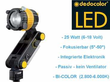 DedoLight DLED2.1 high-power 25 W mini LED Kopflicht BI-COLOR