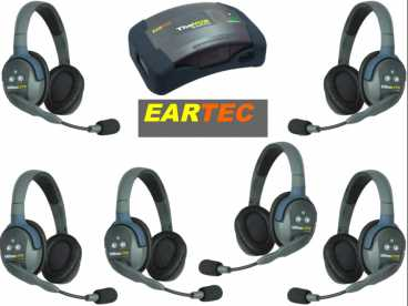 EARTEC ULTRALITE 6-D {HUB6D} digital DECT drahtloses Intercom Headset mit Mini-Base bis 600m