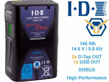 V-Mount IDX ENDURA DUO-150 Li-ION Akku 14,8V 9,8Ah 146Wh USB und 2x D-TAP OUT