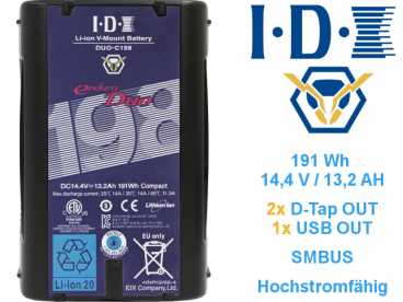 V-Mount IDX ENDURA DUO-C198 Li-ION Akku 14,4V 13,2Ah 191Wh USB und 2x D-TAP OUT