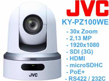 JVC KY-PZ100WE Full-HD PTZ DOME Kamera weiß {PoE HD-SDI HDMI microSD}