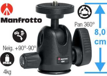 Manfrotto Kugelkopf 494 MINI  4 kg. (neigbar)