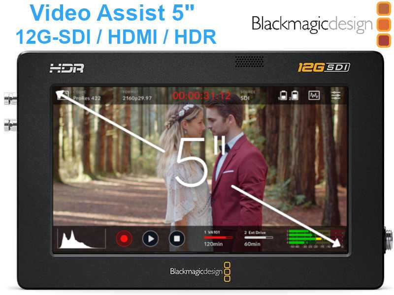 5'' BlackMagic Video Assist 12G-SDI HDMI HDR Touchscreen 4K Monitor und Recorder