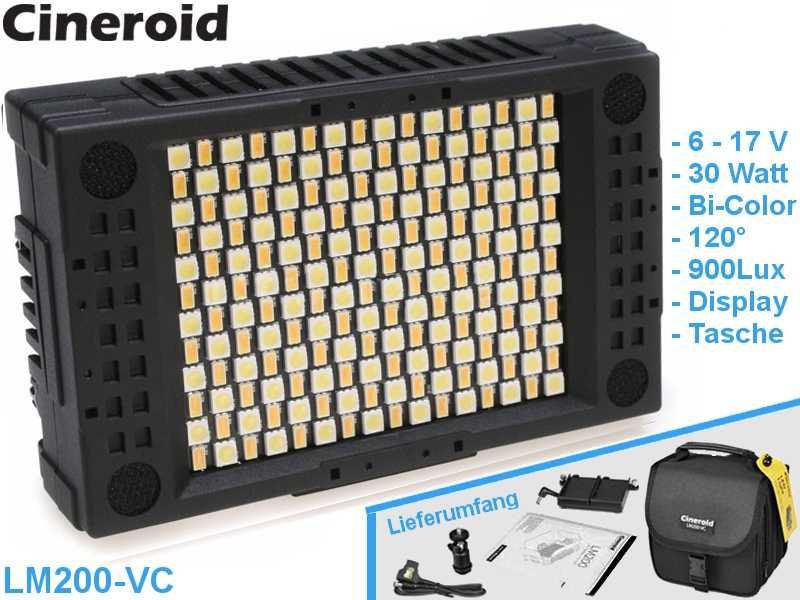 LED Kopflicht Bi-Color 192 LED Cineroid LM200-VC {30 W|6-17V}