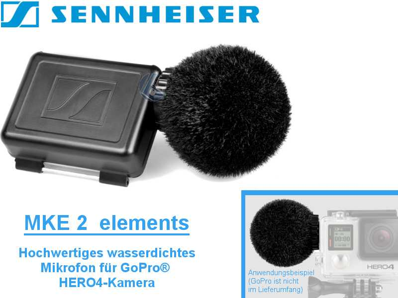 Sennheiser MKE-2 ELEMENTS {prof. wasserdicht für GoPro HERO4}